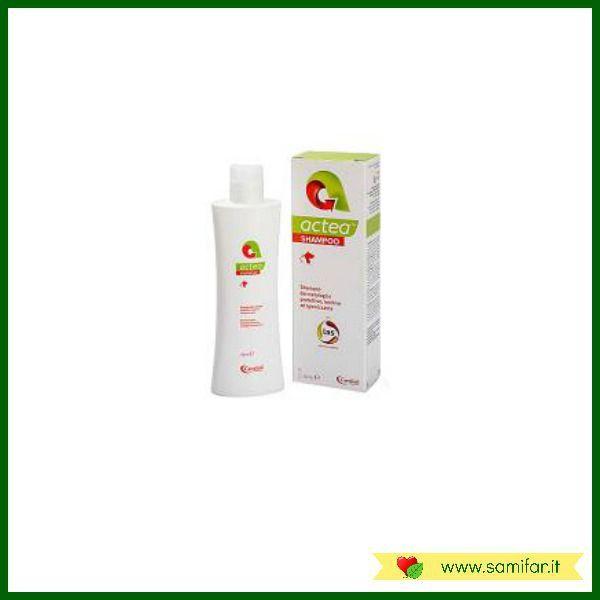 Actea Shampoo è un detergente dermatologico protettivo, igienizzante e lenitivo per la cute e il pelo di cane e gatto.  La sua formulazione favorisce il corretto mantenimento del normale film idrolipidico cutaneo e contribuisce a contrastare il prurito e le irritazioni. http://samifar.it/?product=actea-shampoo