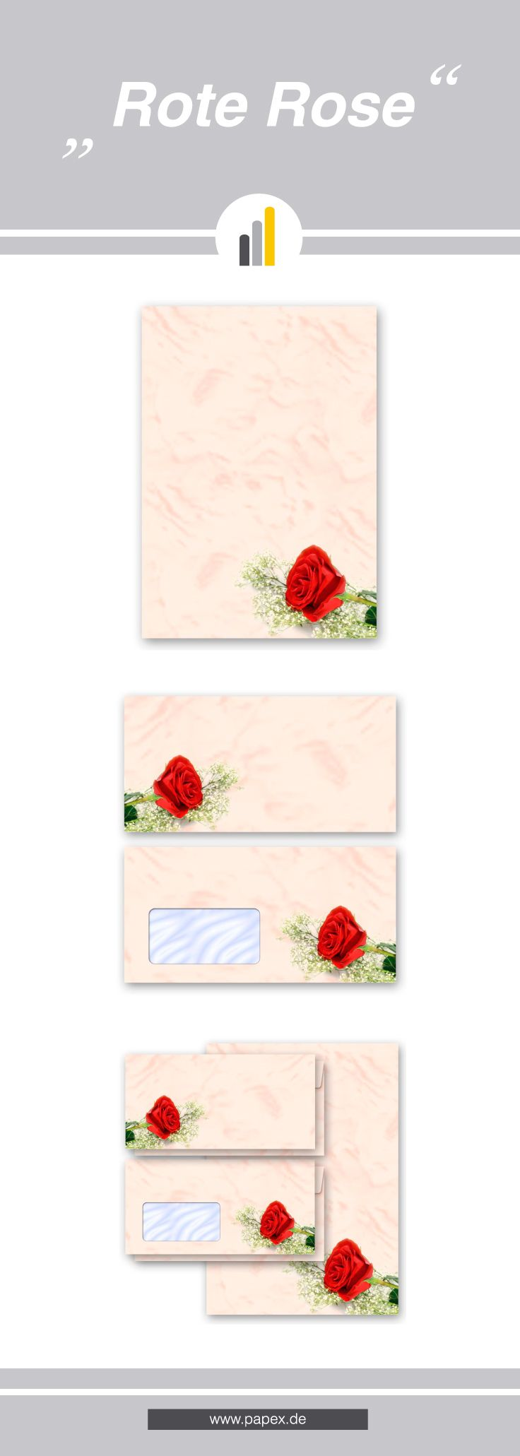 Briefpapier / Motivpapier ROTE ROSE - Sagen Sie es »durch die Blume« mit unseren variantenreichen Blütenmotiven oder Designs aus vielen anderen Themenbereichen, um einem persönlichen Schreiben den richtigen Rahmen zu verleihen. Das Verwenden Sie unsere Produkte als Werbewirksame Zielgruppenmailings, Weihnachtsgrüße, für Angebote, als Saison-Briefpapier, für Einladungen, Glückwünsche, Speisekarteneinlagen, Aktionsprogramme, Feste, als Aushang im Schaufenster und für weitere tausend Anlässe.