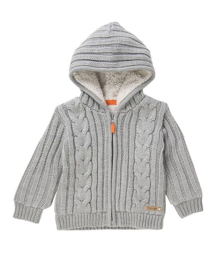 Cable Knit Zip Through Cardigan