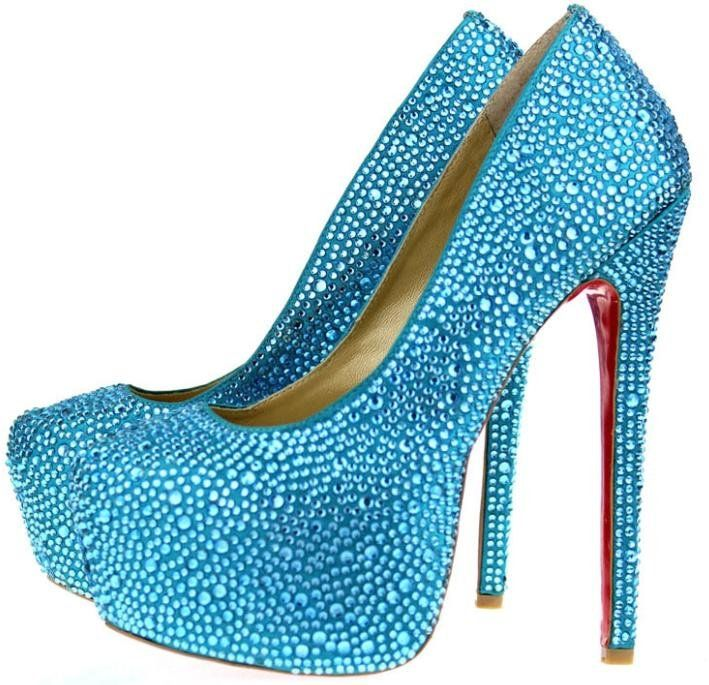 sparkly teal high heels