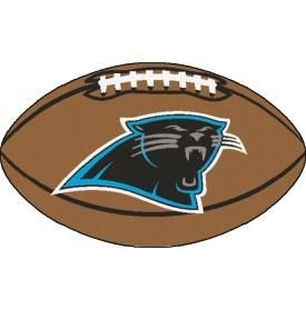 Carolina Panthers football shaped floor mat