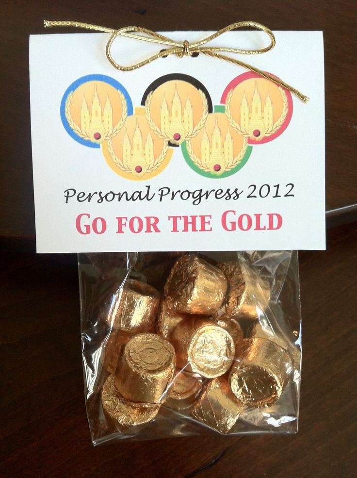 Olympics, Young Women Hand out, Personal Progress incentive. Think of changing this to a scouting idea for the BLUE AND GOLD.