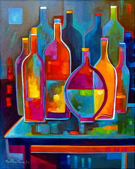 Cubist Abstract Painting Original Cubism Art Wine Bottles Acrylic Marlina Vera…