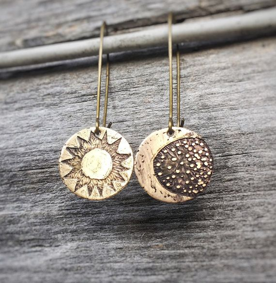 Sun and moon earrings. Hand drawn etching …