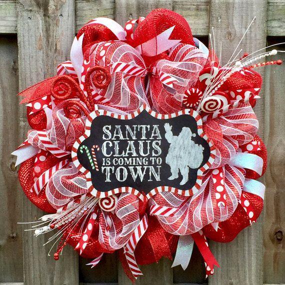 Christmas wreath santa claus wreath custom by AdornMeWreaths