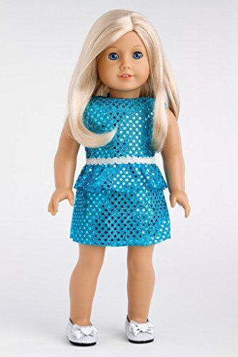 Turquoise - Sparkling holiday party dress with matching silver shoes - Clothes for American Girl Dolls