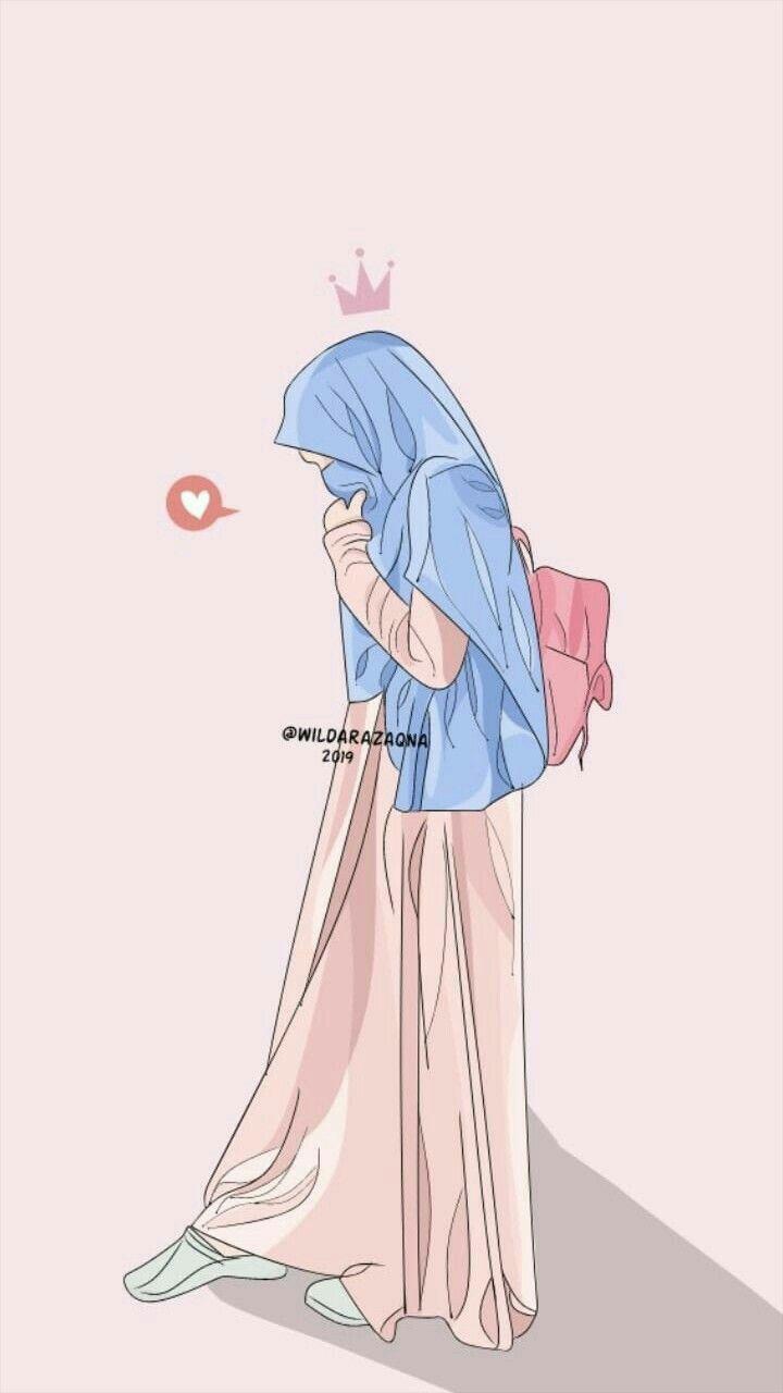 Hijab Vector In 2020 Hijab Cartoon Islamic Cartoon Anime Muslim