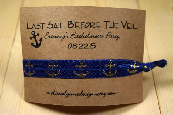 Elastic Hair Tie//Creaseless Hair Tie//Bachelorette Party Favors//Last Sail Before the Veil//Nautical Bachelorette Party