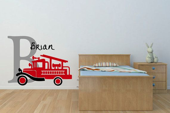 Fire Engine with Personalised Name and Initial. Quality Matte