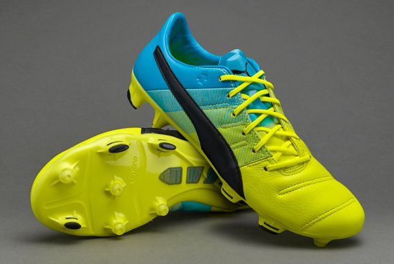 Puma evoPOWER 1.3 Leather FG - Safety Yellow/Black/Atomic Blue