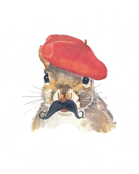 Squirrel Watercolour Painting PRINT, French Squirrel, Mustache, Red Beret, 8x10 Print via Etsy