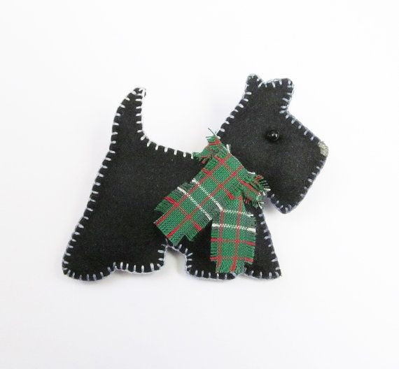 Felt Brooch  CAL   The Cute Black Scottie Dog by CherryPips
