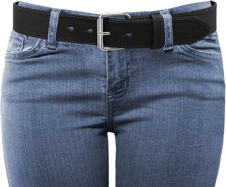 LUNA Women's Wide Thick Leather Belt - Silver - Black - 2X Large