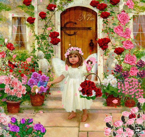 Niña Angel Entre Muchas Flores
