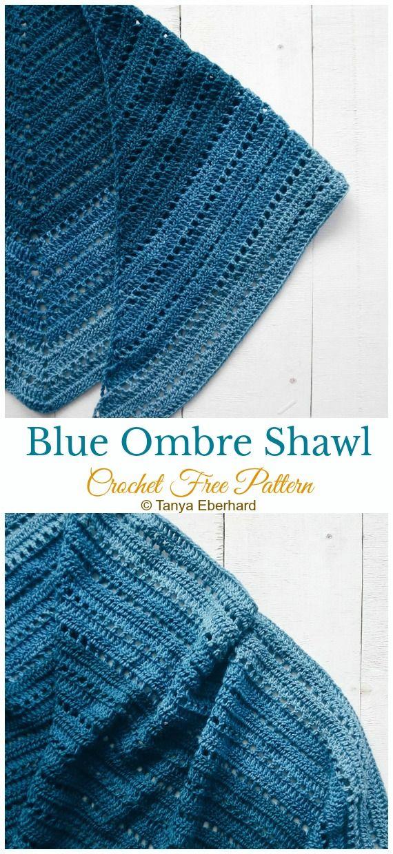 Blue Ombre Shawl Crochet Free Pattern Women Lace Shawl Shawl