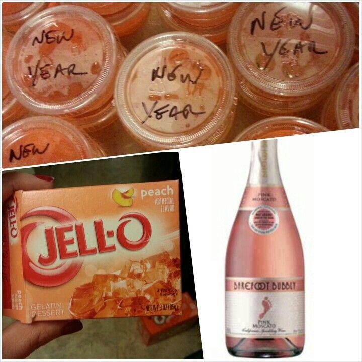 Jello shots. Peach Jello and pink moscato champagne!