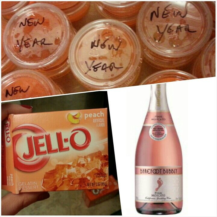 Jello shots. Peach Jello and pink moscato champagne! Delicious!