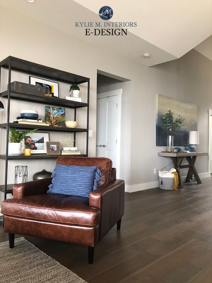 Kylie M Interiors Paint Colour Review Of Sherwin Williams Colonnade Gray In Home With Brown Wood Floors