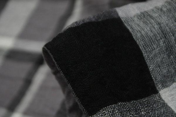 Ebony Check Yarn Dyed Crinkled Linen - Linen - Tessuti Fabrics - Online Fabric Store - Cotton, Linen, Silk, Bridal & more