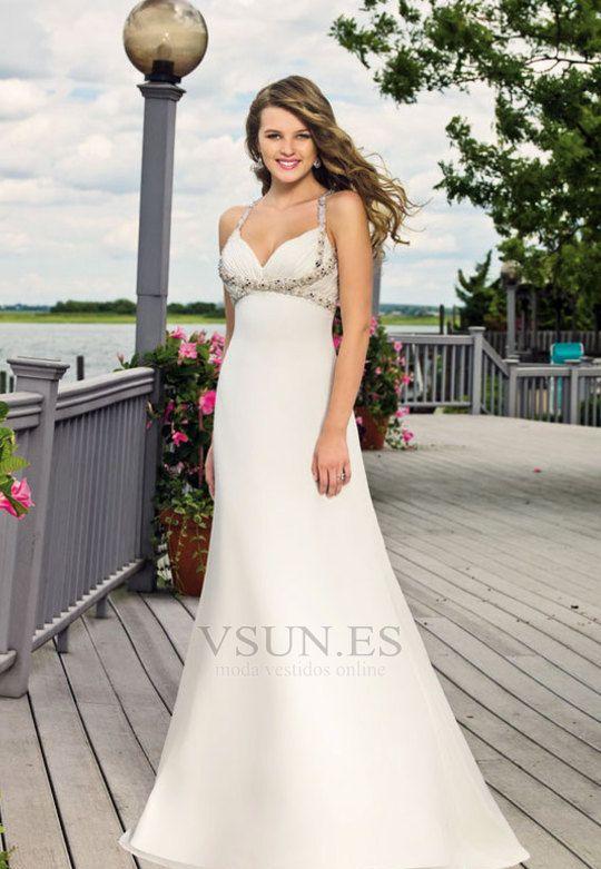 Vestido+de+novia+Sencillo+Sin+cintura+primavera+Satén+Elástico+Escote+de+Tirantes+Espaguetis