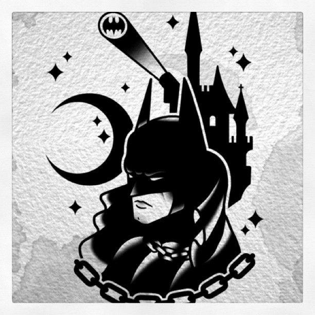 #darkknight #batman #dccomics #bat #gotham #tattoo #traditional #oldschool #derickjames #tattooflash