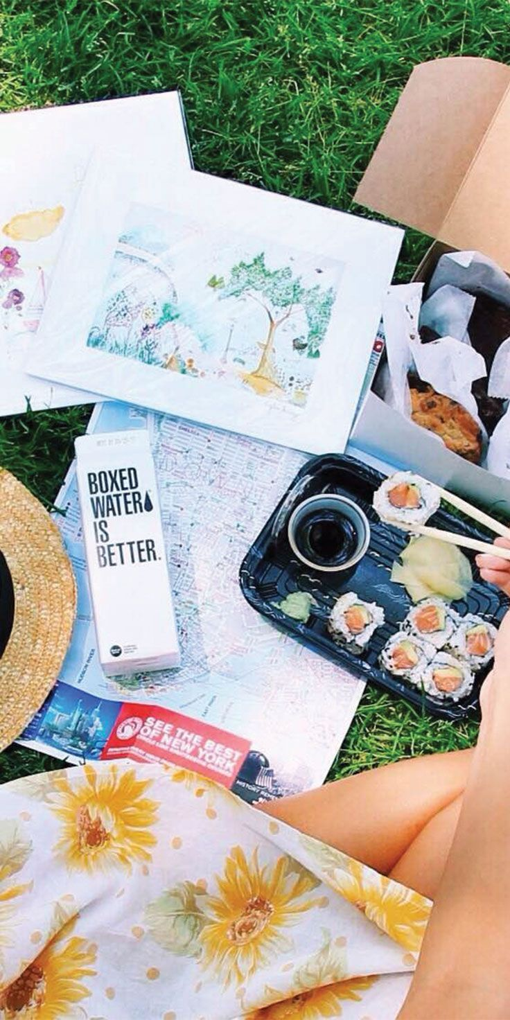 Central Park picnics are better with cookies & boxed water - by Chloe Barry-Hang
