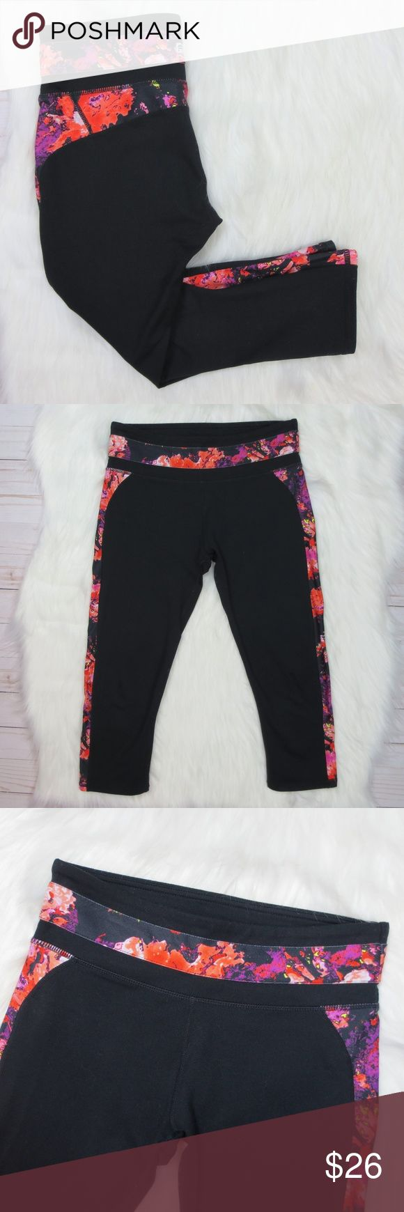 "Fabletics {Black} Floral Crop Black, cropped capri with floral waist and leg trim. Double-lined waistband for extra support. Moisture-wicking, chafe-resistant fabric. Brand new, perfect condition!  Laid flat during measurements: 26"" full length (top to hem). Fabletics Pants Capris"