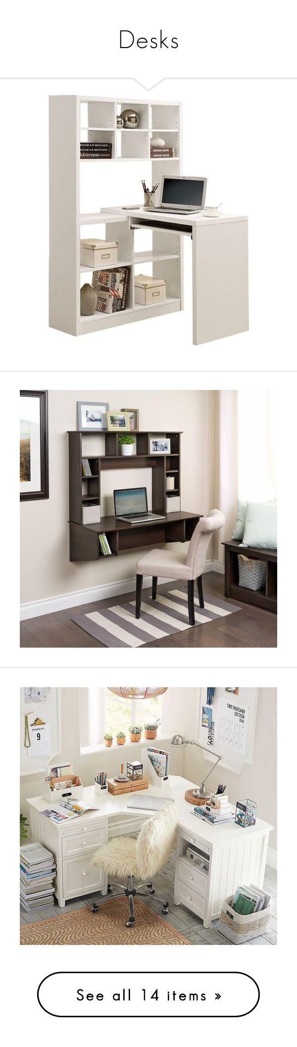 """Desks"" by deborah-97 ❤ liked on Polyvore featuring home, furniture, desks, white, white corner computer desk, computer desk, corner computer desk, white home office desk, white corner desk and brown"