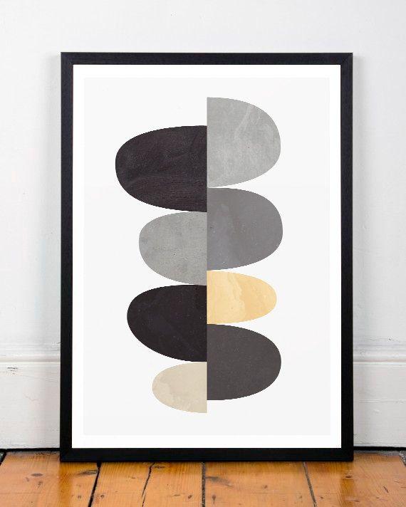 Geometric art print, Abstract art, Scandinavian art, Scandinavian affiche, Minimalist poster, Wall print, Home decor, Modern art, A4 print