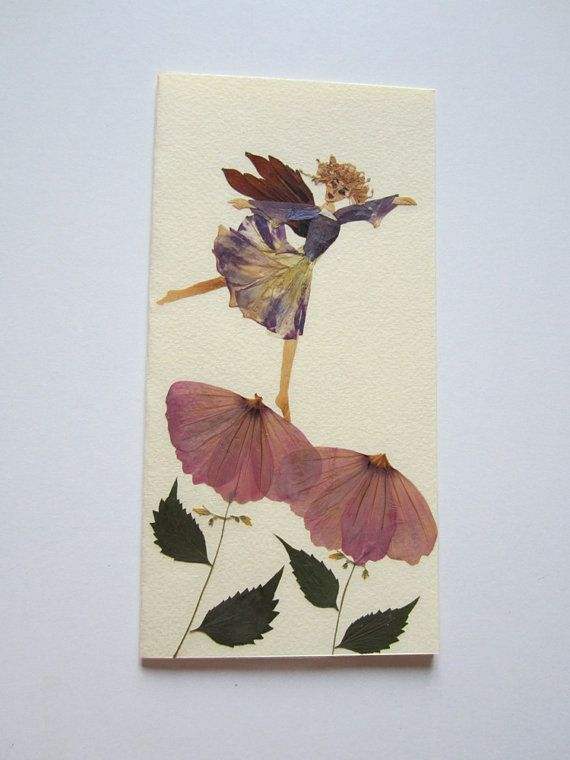 """Handmade unique greeting card """"Flower stage"""" - Decorated with dried pressed flowers and herbs - Original art collage."""