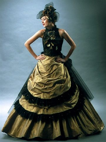 Popular Gold and Black Wedding Dress