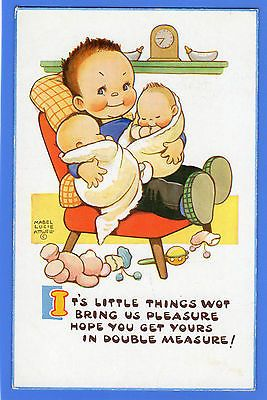 OLD VINTAGE POSTCARD ARTIST SIGNED MABEL LUCIE ATTWELL GIRL TWIN BABIES TEDDY