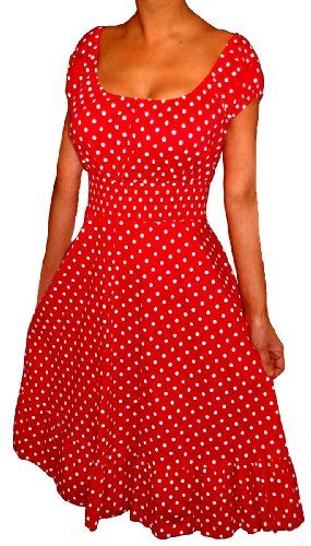 Online Sales eXperts (USA) - OSX128.COM: Apparel: FUNFASH RED WHITE POLKA DOTS ROCKABILLY PEASANT DRESS Plus Size 1X 18 20Made in USA