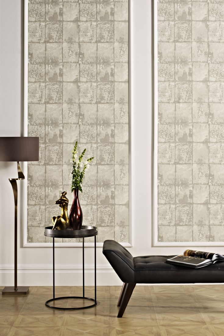 37 stenciled cinder block planter ideas and free 2017 from zola decor - An All Over Vinyl Wallpaper Design Featuring A Distressed Tile Effect Pattern