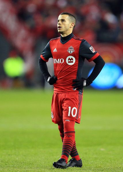 Sebastian Giovinco #10 of Toronto FC looks up to the scoreboard during the first half of the MLS Eastern Conference Finals, Leg 2 game against Columbus Crew SC at BMO Field on November 29, 2017 in Toronto, Ontario, Canada.
