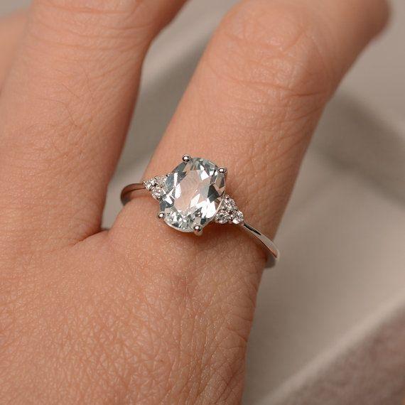 White Topaz Ring Sterling Silver Oval Cut White Topaz Ring