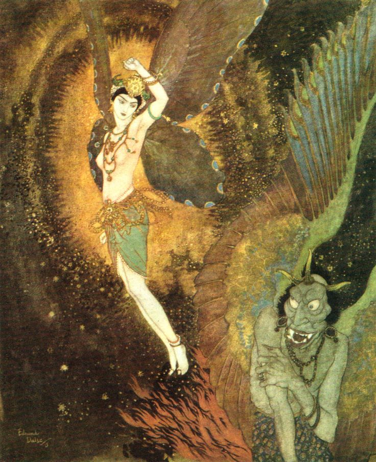 "by Edmund Dulac - 'As she rose up through clouds there passed one she knew by his tail to be Dahnash.' illustration to the story ""Dahnash and Meymooneh"" from Princess Badoura (1913)"