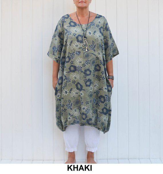 8fdbdb32e5 Lagenlook Linen Tunic Dress with Pockets Floral Quirky Plus Size L XL XXL Uk  14 16 18 20 22 24 - Khaki Green - 9381