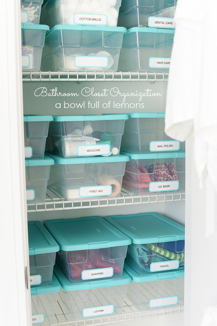 Bathroom organizing doesn't have to be pricey or a ton of work. Love these simply labeled plastic shoeboxes to keep everything in its place from A Bowl Full of Lemons