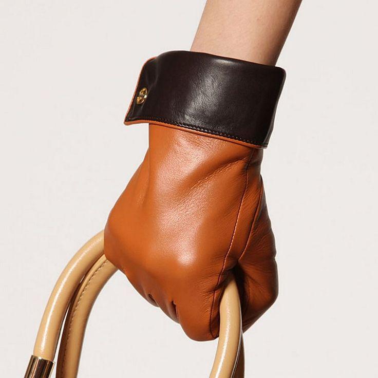 Top Fashion 2017 Genuine Leather Gloves For Women Wrist Two Tone Female Sheepskin Glove Winter Driving Free Shipping El021nqf