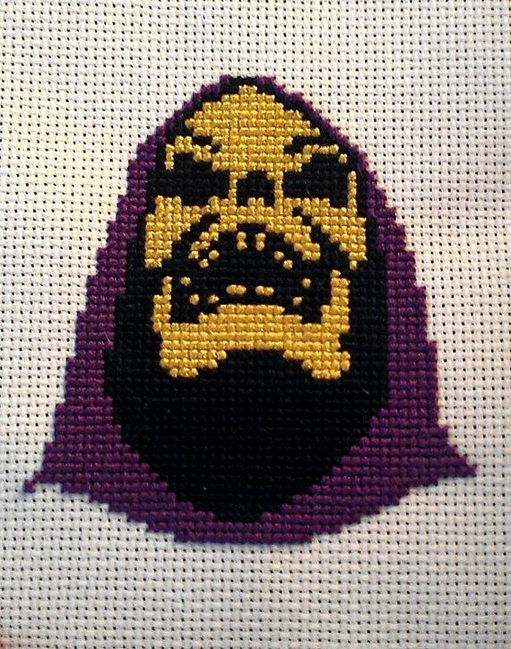 SKELETOR Finished cross stitch by FeralCatStudio on Etsy, $30.00