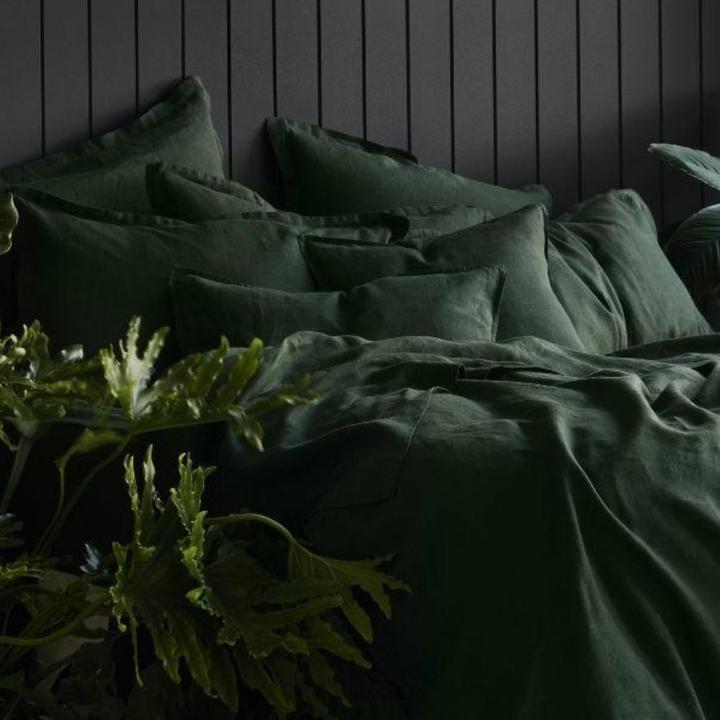 Lodge Linen Pillowcase Forest Green The Foxes Den Bed Linens Luxury Bed Linen Design Green Bedding