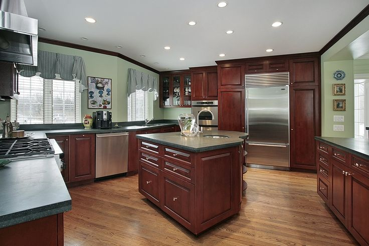 43 New And Spacious Darker Wood Kitchen Designs: kitchen cabinets light green
