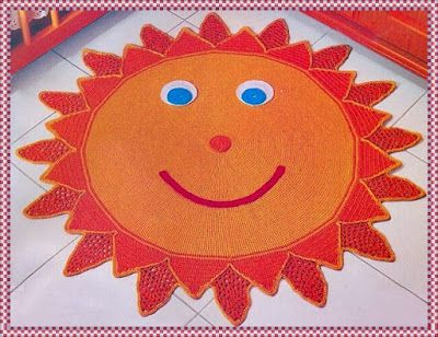 era Tapete de Crochê em Formato de Sol-Amor por Art em Crochê