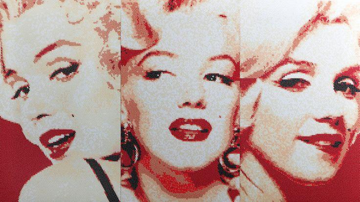 no.5-Ⅰ,Ⅱ,Ⅲ set, 111x198(cm), stickers, acrylic board, 2016. by Choizan. www.zanchoi.com  #choizan #artist #artwork #marilynmonroe #stickers #contemporaryart #art #koreanartist #asianartist #arte #asia #asiaart #contemporary #fineart #galleries