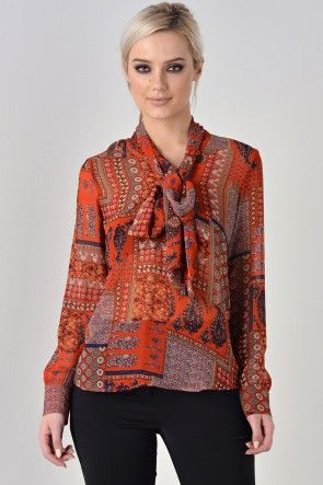 Bridie Chiffon Blouse in Rust