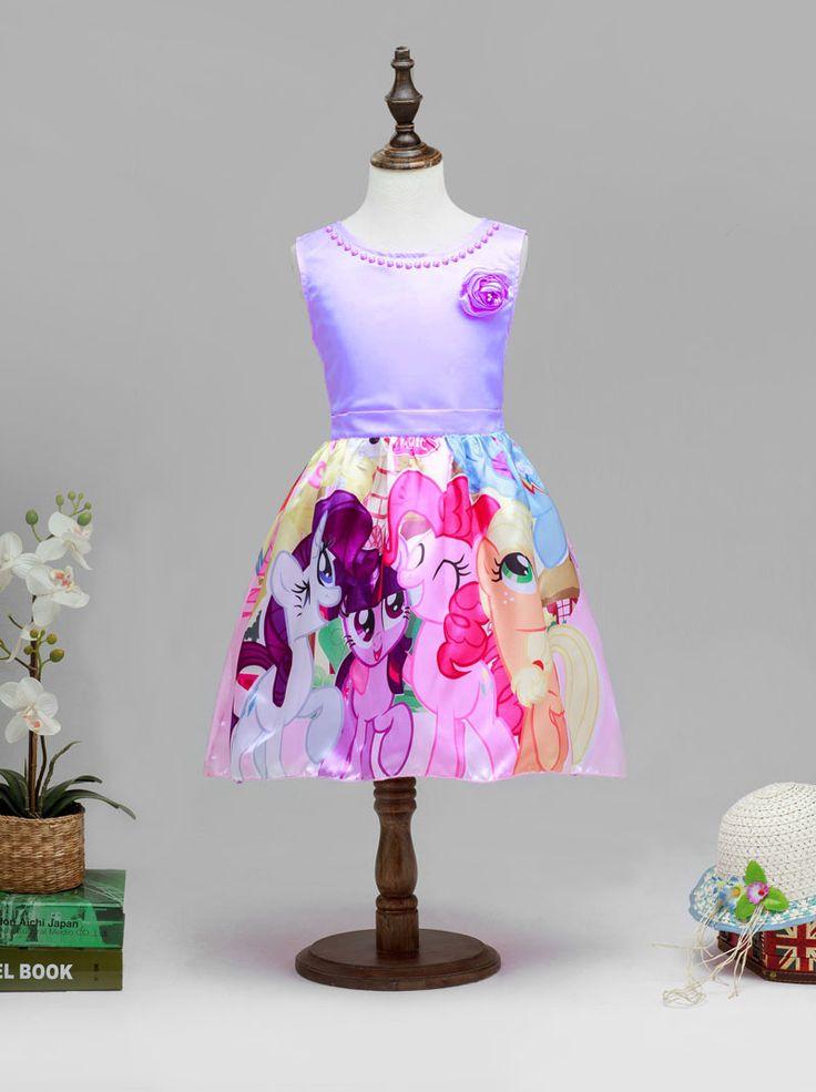 Princess My Little Pony Dresses,Purple Sleeveless Birthday Party Dress
