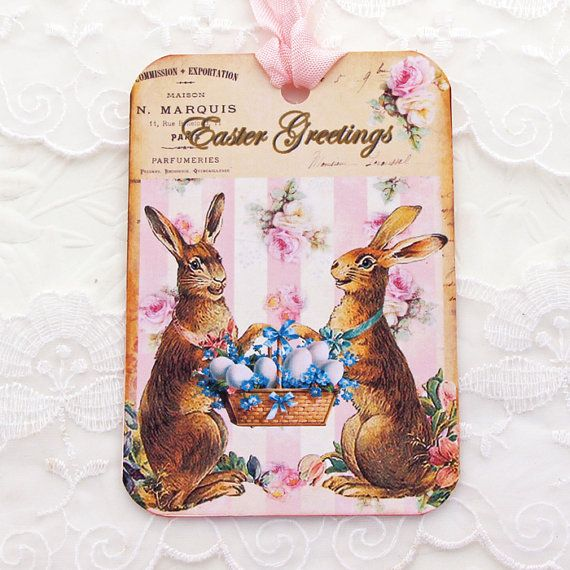 Easter Tags Vintage French Brown Bunny Paris by EnchantedQuilling