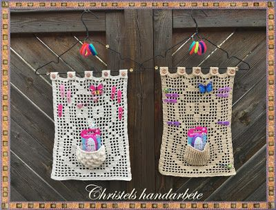 Christels handarbete: Virkade ugglehänge, Crochet owl pendant