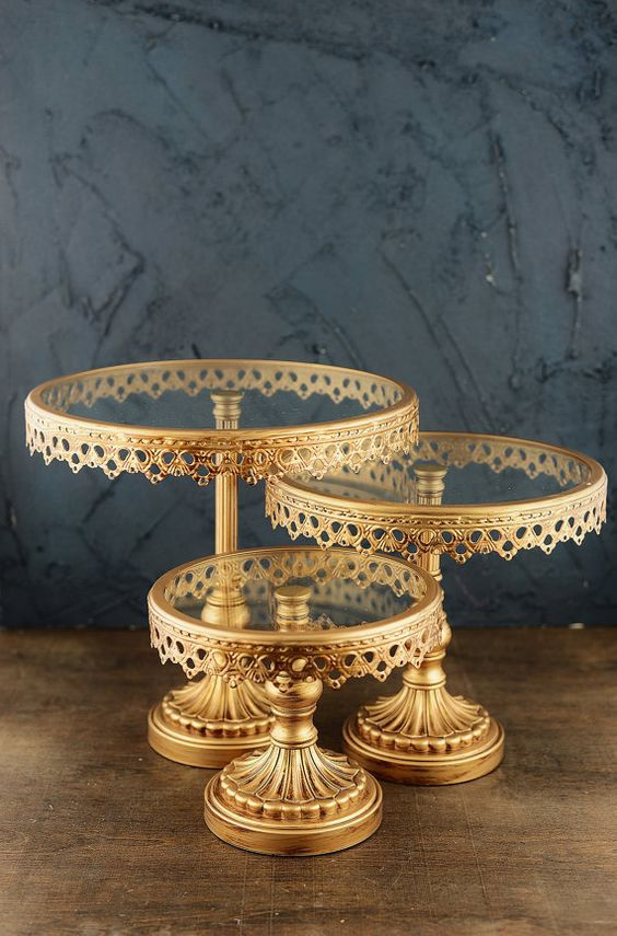 Cake Stands Round Gold Metal & Glass  (Set of Three). These cuties are back!